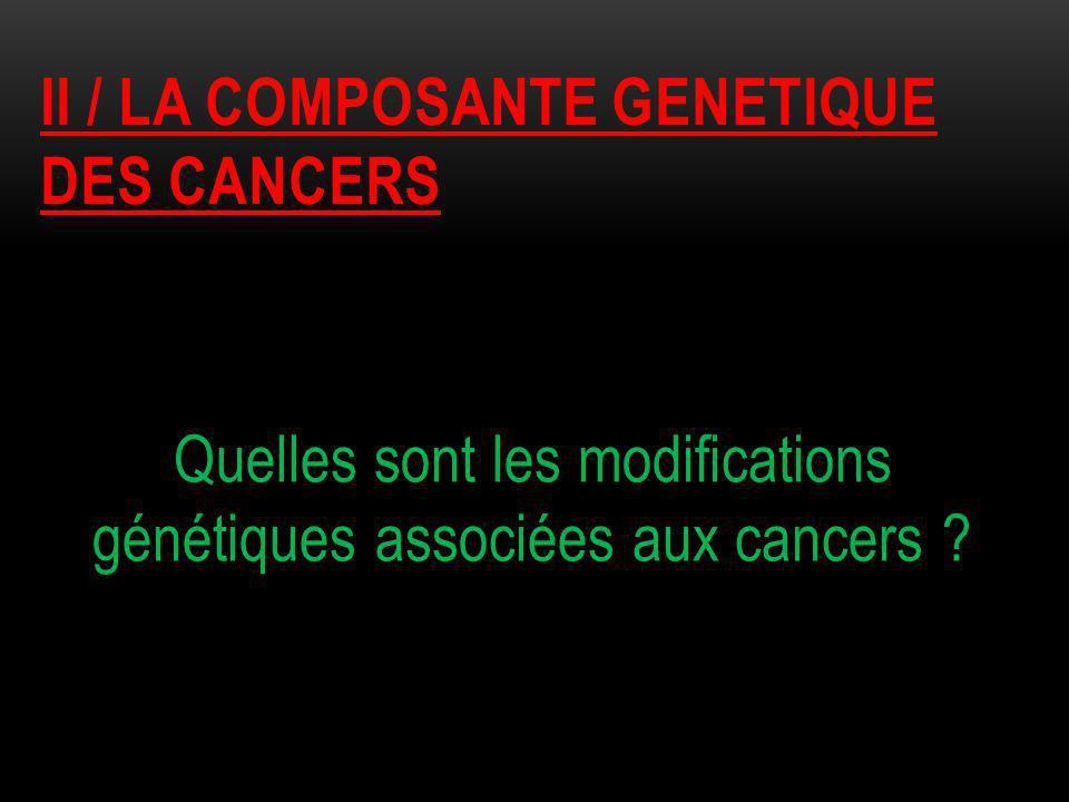 II / LA COMPOSANTE GENETIQUE DES CANCERS Quelles sont les modifications génétiques associées aux cancers ?