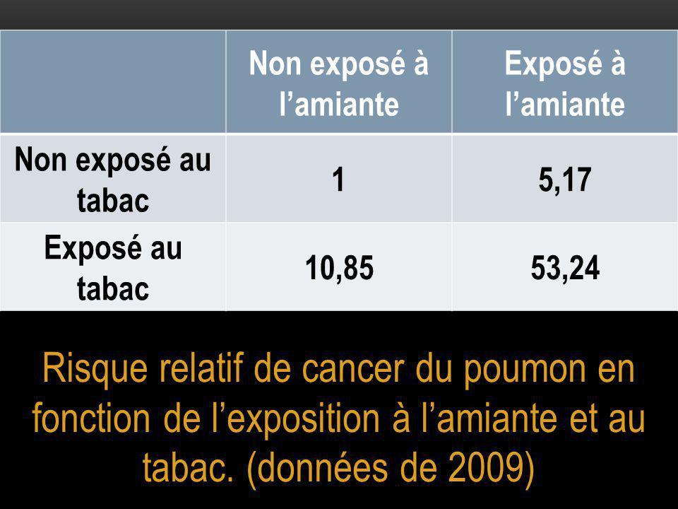 Risque relatif de cancer du poumon en fonction de l'exposition à l'amiante et au tabac.