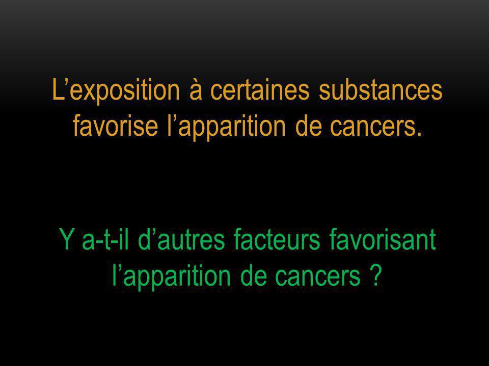 L'exposition à certaines substances favorise l'apparition de cancers.