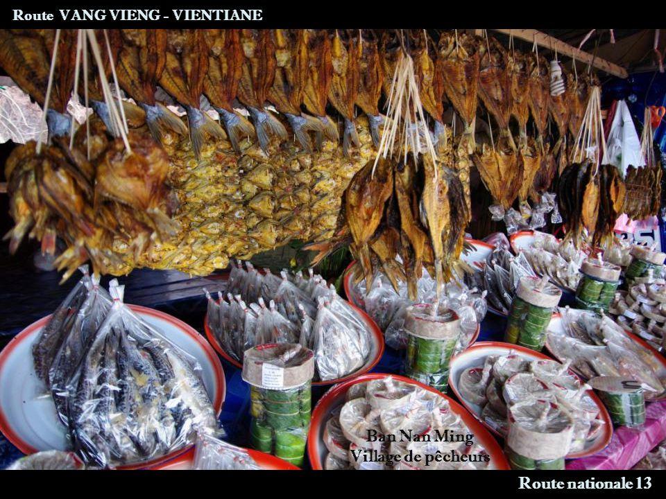 Route VANG VIENG - VIENTIANE Ban Nan Ming Village de pêcheurs Route nationale 13