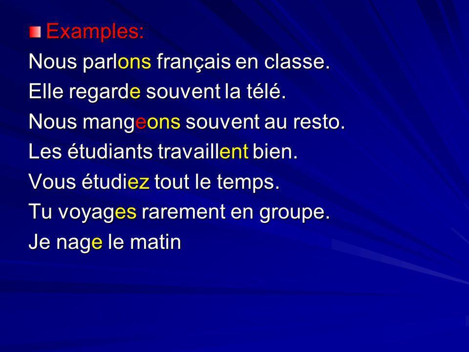 Examples: Nous parlons français en classe. Elle regarde souvent la télé. Nous mangeons souvent au resto. Les étudiants travaillent bien. Vous étudiez
