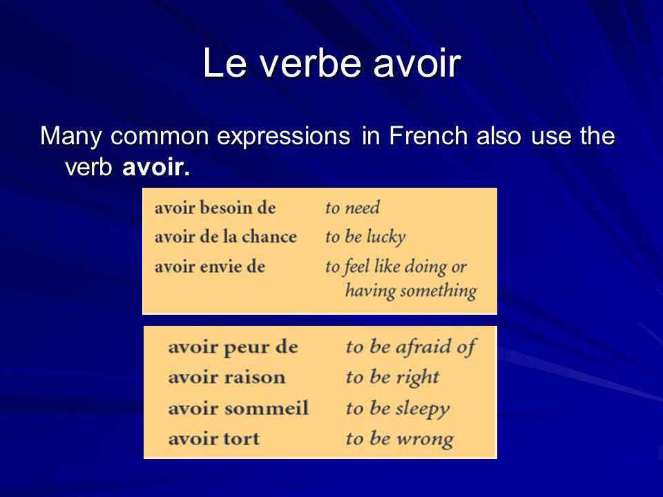 Le verbe avoir Many common expressions in French also use the verb avoir.