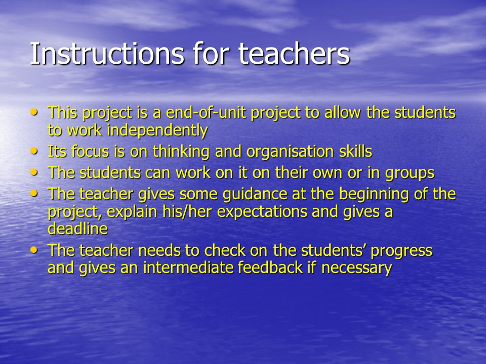 Key stage 3 Projects : Teacher's checklist Key stage 3 Projects : Teacher's checklist Project 1 Present a French famous person/artist Instructions Project 1 Present a French famous person/artist Instructions Students to choose from a list or make their own choices Pass out a list of required/optional sections, the desired length, and any other guidelines Students write up and turn in ppt presentations, posters Students make a presentation on their famous French person Students to choose from a list or make their own choices Pass out a list of required/optional sections, the desired length, and any other guidelines Students write up and turn in ppt presentations, posters Students make a presentation on their famous French person Assessment Assessment Students to assess each other's work through a written format or oral survey Students to assess each other's work through a written format or oral survey Teacher's assessment Teacher's assessment Customization Customization This project can be done by individual students, pairs, or groups French/Spanish celebs: teacher should write on the list names of people famous in history, art, everyday life… Sections/Elements: personal information including name, DOB, family situation, job, physical description, personality, impact on the community … This project can be done by individual students, pairs, or groups French/Spanish celebs: teacher should write on the list names of people famous in history, art, everyday life… Sections/Elements: personal information including name, DOB, family situation, job, physical description, personality, impact on the community … Length: beginners level 1-2 / intermediate level 3-4 / advanced level 5 (add tenses) To be adapted by teachers Levels: Length: beginners level 1-2 / intermediate level 3-4 / advanced level 5 (add tenses) To be adapted by teachers Levels: Beginners: Pass out a worksheet with section titles and have students do research and fill in the blanks.