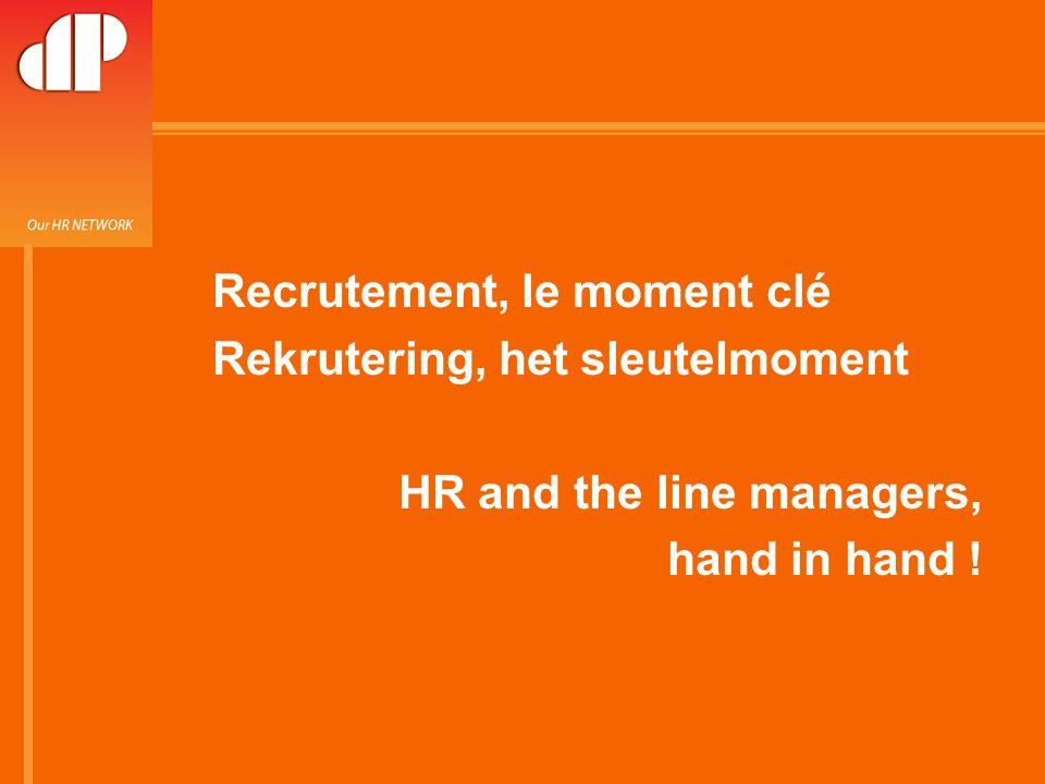26-février.-08 RH and line manager hand in hand Recrutement Passion Les règles Mise en commun de tous les besoins de recrutement « staff » par place (càd Bxl Centre, Gent, Zone Airport…) Mise en commun de tous les moyens de recruter.