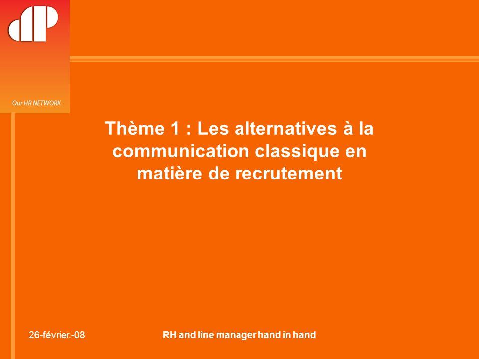26-février.-08RH and line manager hand in hand Thème 1 : Les alternatives à la communication classique en matière de recrutement