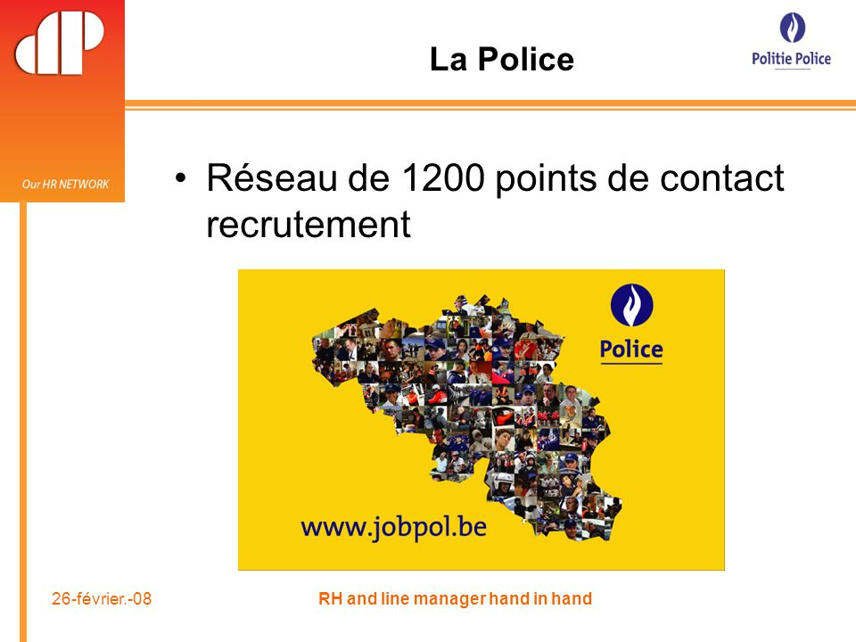 26-février.-08 RH and line manager hand in hand Réseau de 1200 points de contact recrutement La Police