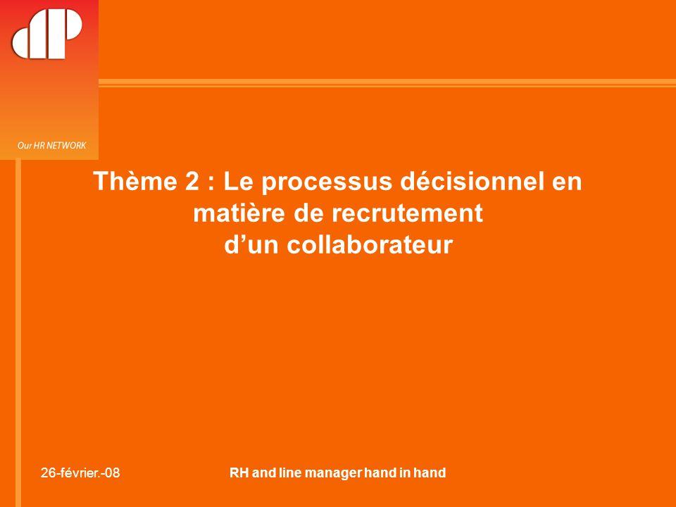 26-février.-08RH and line manager hand in hand Thème 2 : Le processus décisionnel en matière de recrutement d'un collaborateur