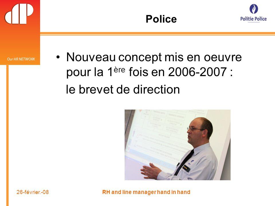 26-février.-08 RH and line manager hand in hand Police Nouveau concept mis en oeuvre pour la 1 ère fois en 2006-2007 : le brevet de direction