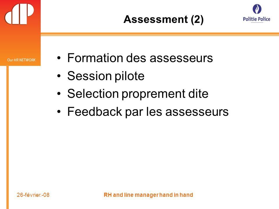 26-février.-08 RH and line manager hand in hand Assessment (2) Formation des assesseurs Session pilote Selection proprement dite Feedback par les assesseurs