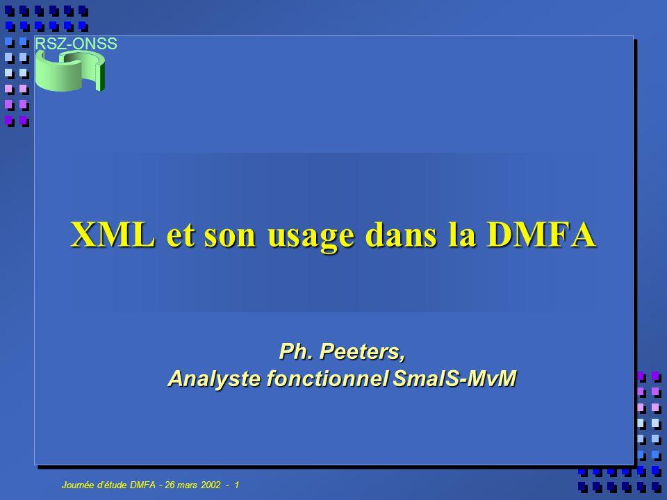RSZ-ONSS Journée d'étude DMFA - 26 mars 2002 - 1 XML et son usage dans la DMFA Ph. Peeters, Analyste fonctionnel SmalS-MvM