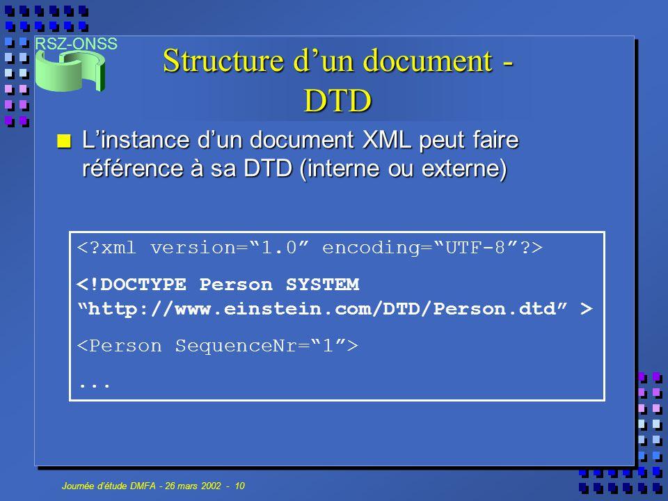 RSZ-ONSS Journée d'étude DMFA - 26 mars 2002 - 10 Structure d'un document - DTD n L'instance d'un document XML peut faire référence à sa DTD (interne