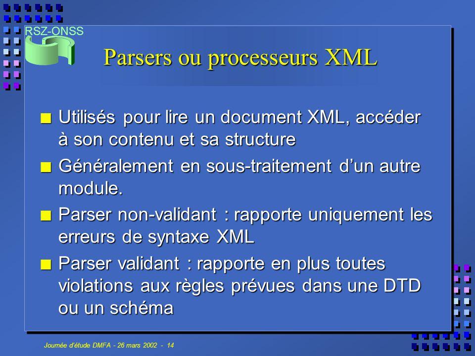 RSZ-ONSS Journée d'étude DMFA - 26 mars 2002 - 14 Parsers ou processeurs XML n Utilisés pour lire un document XML, accéder à son contenu et sa structu