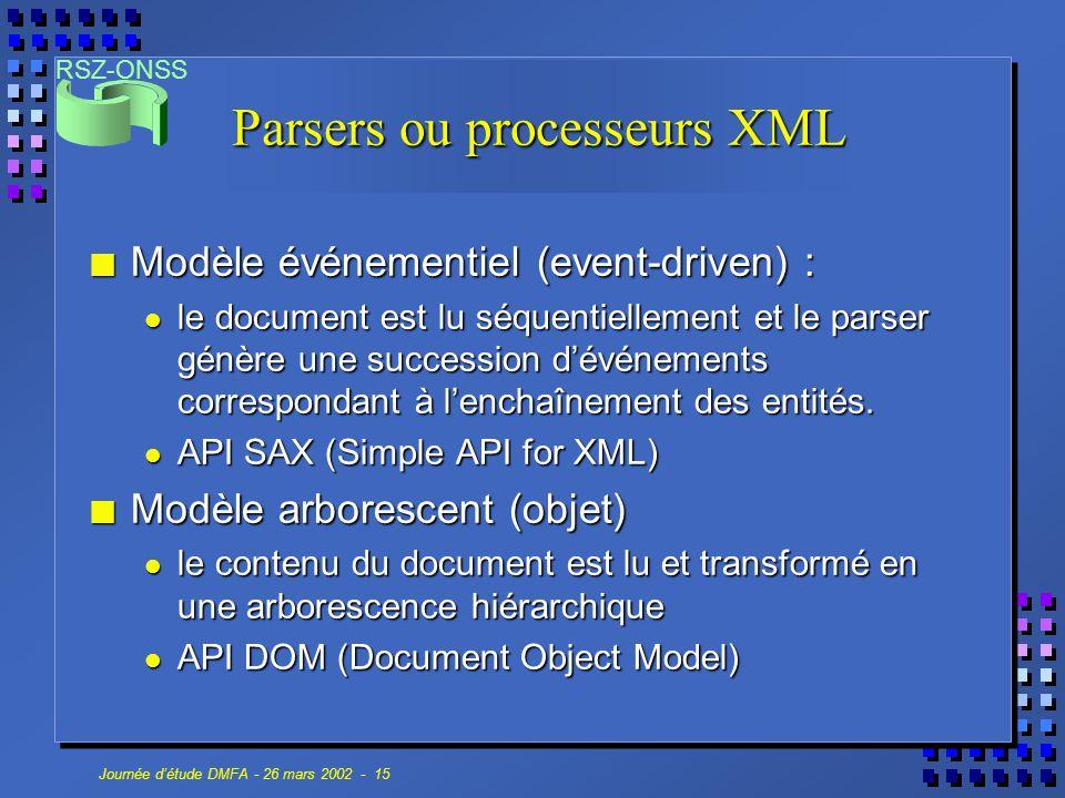 RSZ-ONSS Journée d'étude DMFA - 26 mars 2002 - 15 Parsers ou processeurs XML n Modèle événementiel (event-driven) : le document est lu séquentiellemen