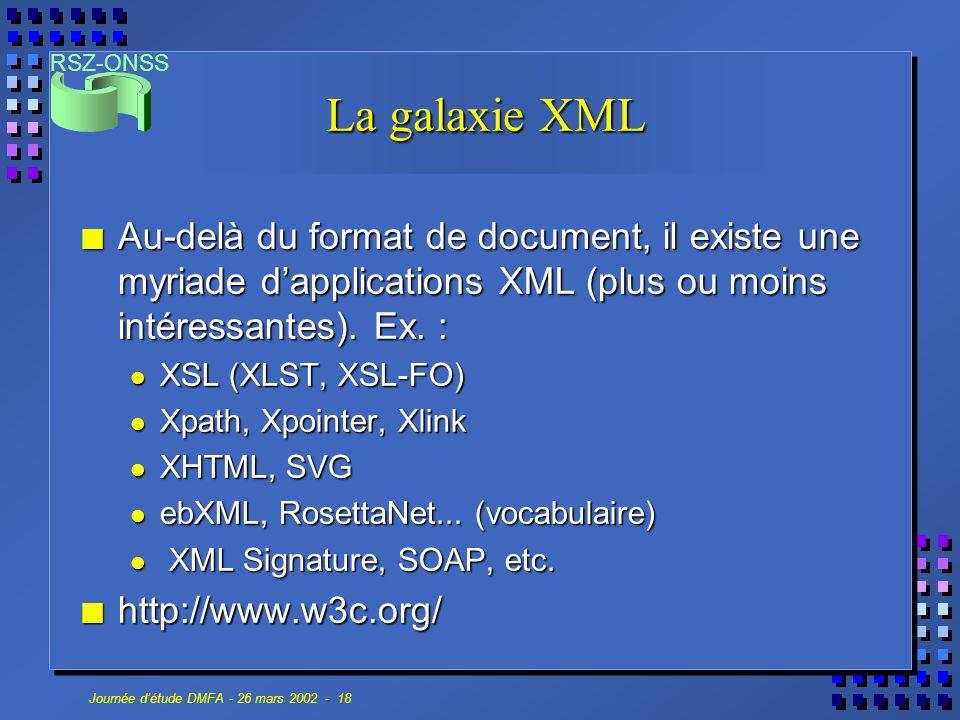 RSZ-ONSS Journée d'étude DMFA - 26 mars 2002 - 18 La galaxie XML n Au-delà du format de document, il existe une myriade d'applications XML (plus ou mo