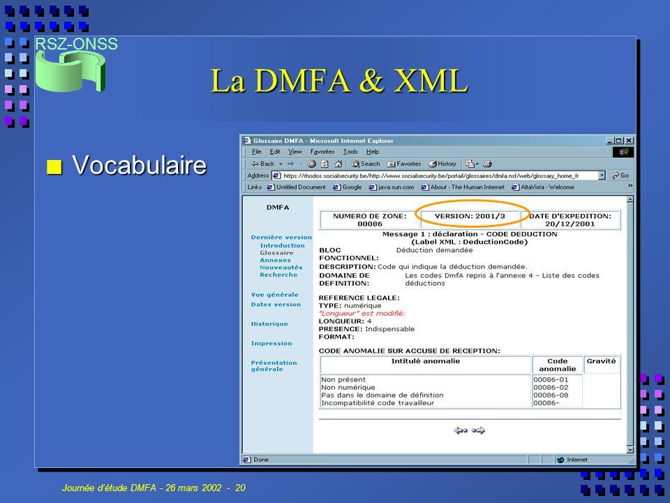 RSZ-ONSS Journée d'étude DMFA - 26 mars 2002 - 20 La DMFA & XML n Vocabulaire