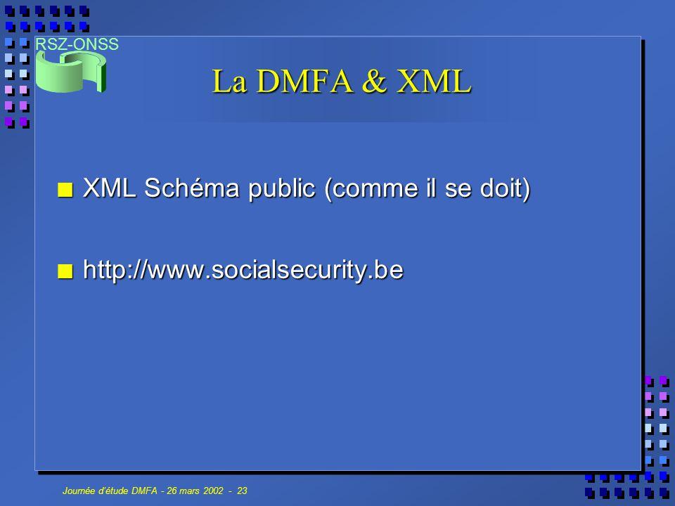 RSZ-ONSS Journée d'étude DMFA - 26 mars 2002 - 23 La DMFA & XML n XML Schéma public (comme il se doit) n http://www.socialsecurity.be