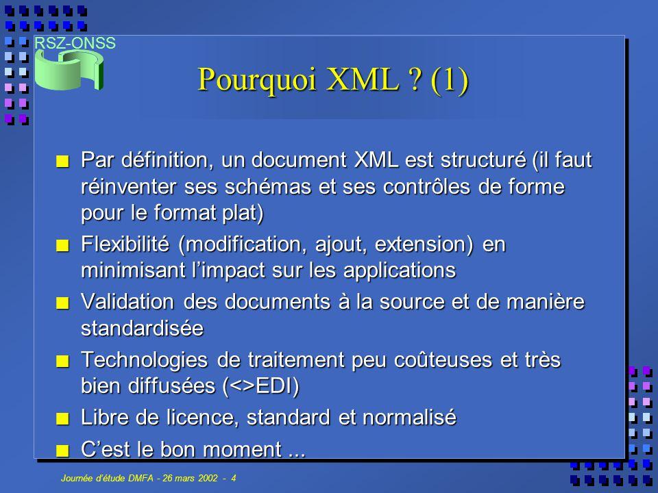 RSZ-ONSS Journée d'étude DMFA - 26 mars 2002 - 4 Pourquoi XML ? (1) n Par définition, un document XML est structuré (il faut réinventer ses schémas et