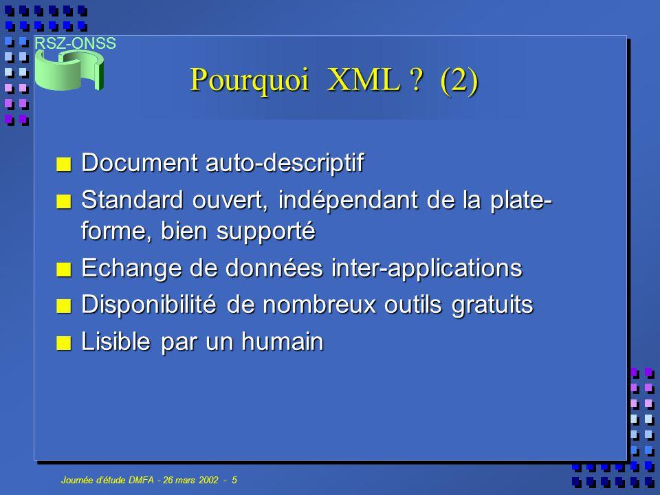 RSZ-ONSS Journée d'étude DMFA - 26 mars 2002 - 16 Parsers n Non-validants XP - Java - n'est plus supporté XP - Java - n'est plus supporté Ælfred - Java Ælfred - Java Expath - C Expath - C n Validants Xerces - Java, C, C++, Perl - DTD & Schema Xerces - Java, C, C++, Perl - DTD & Schema MSXML - C++, VB, - DTD & Schema (v4.0) MSXML - C++, VB, - DTD & Schema (v4.0) Oracle XML - Java, C, C++ - DTD & Schema Oracle XML - Java, C, C++ - DTD & Schema Crimson (ProjectX, Xerces2) - Java - DTD Crimson (ProjectX, Xerces2) - Java - DTD libxml2 (Gnome) - C, Perl - DTD libxml2 (Gnome) - C, Perl - DTD Sun Multischema XML Validator (Preview) Sun Multischema XML Validator (Preview)