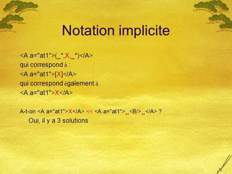 Notation implicite (_*,X,_*) qui correspond à : [X] qui correspond é galement à X A-t-on X   ? Oui, il y a 3 solutions
