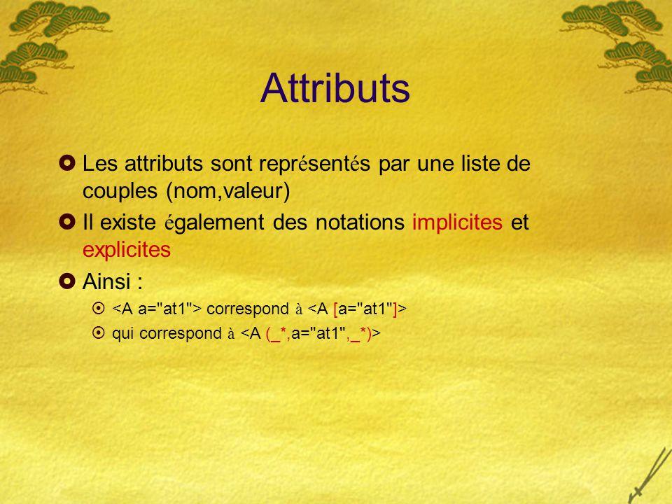 Attributs  Les attributs sont repr é sent é s par une liste de couples (nom,valeur)  Il existe é galement des notations implicites et explicites  A