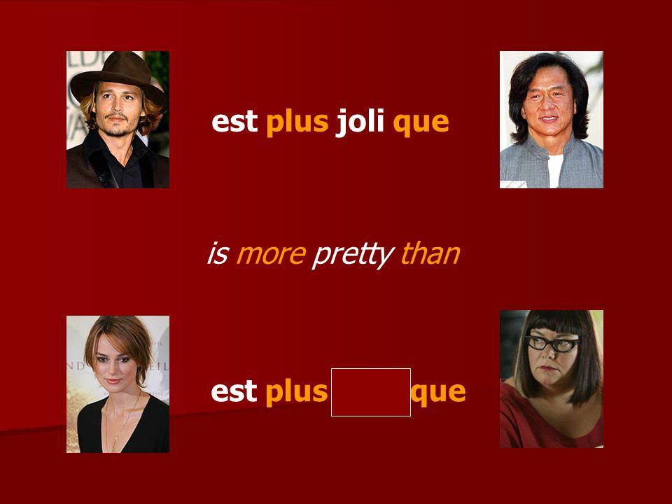Les superlatifs (man) est le plus (masc adj.) (woman) est la plus (fem adj.) (person) is the most (adj.)