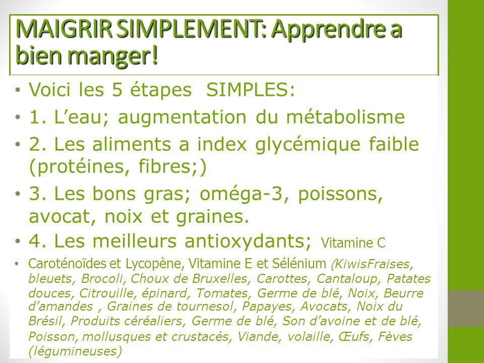 MAIGRIR SIMPLEMENT: Apprendre a bien manger! Voici les 5 étapes SIMPLES: 1. L'eau; augmentation du métabolisme 2. Les aliments a index glycémique faib