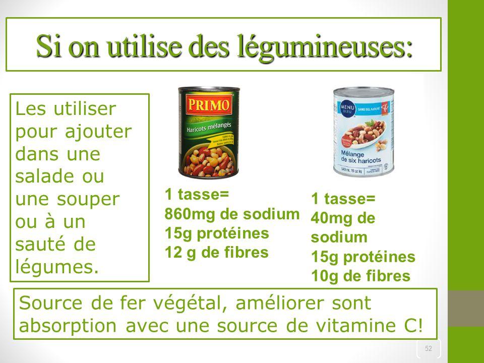Si on utilise des légumineuses: 52 1 tasse= 40mg de sodium 15g protéines 10g de fibres 1 tasse= 860mg de sodium 15g protéines 12 g de fibres Les utili
