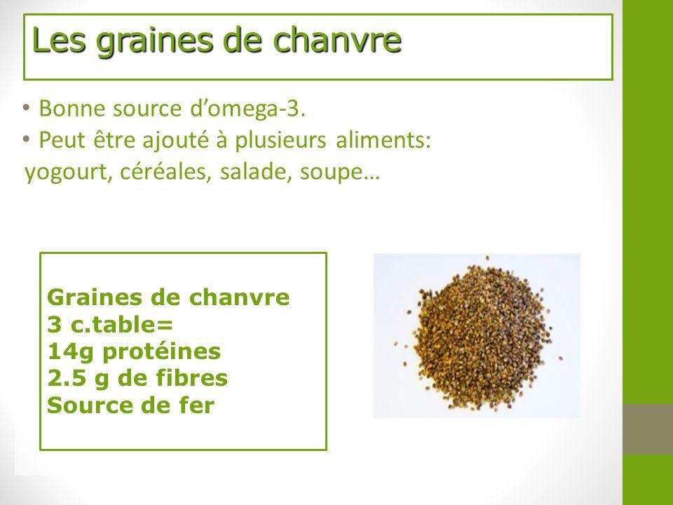 Les graines de chanvre Bonne source d'omega-3. Peut être ajouté à plusieurs aliments: yogourt, céréales, salade, soupe… Graines de chanvre 3 c.table=