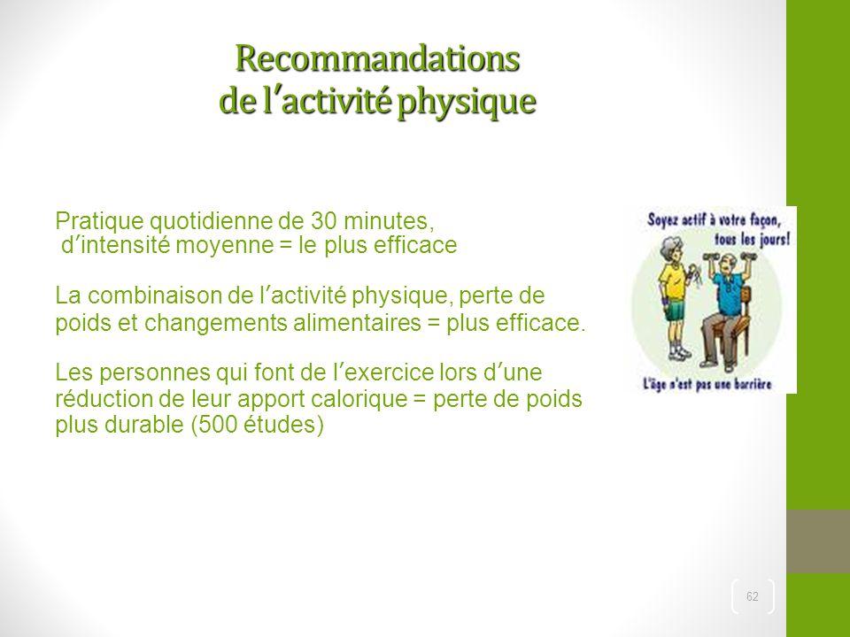 62 Recommandations de l'activité physique Pratique quotidienne de 30 minutes, d'intensité moyenne = le plus efficace La combinaison de l'activité phys