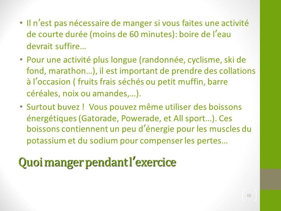 Quoi manger pendant l'exercice Il n'est pas nécessaire de manger si vous faites une activité de courte durée (moins de 60 minutes): boire de l'eau dev