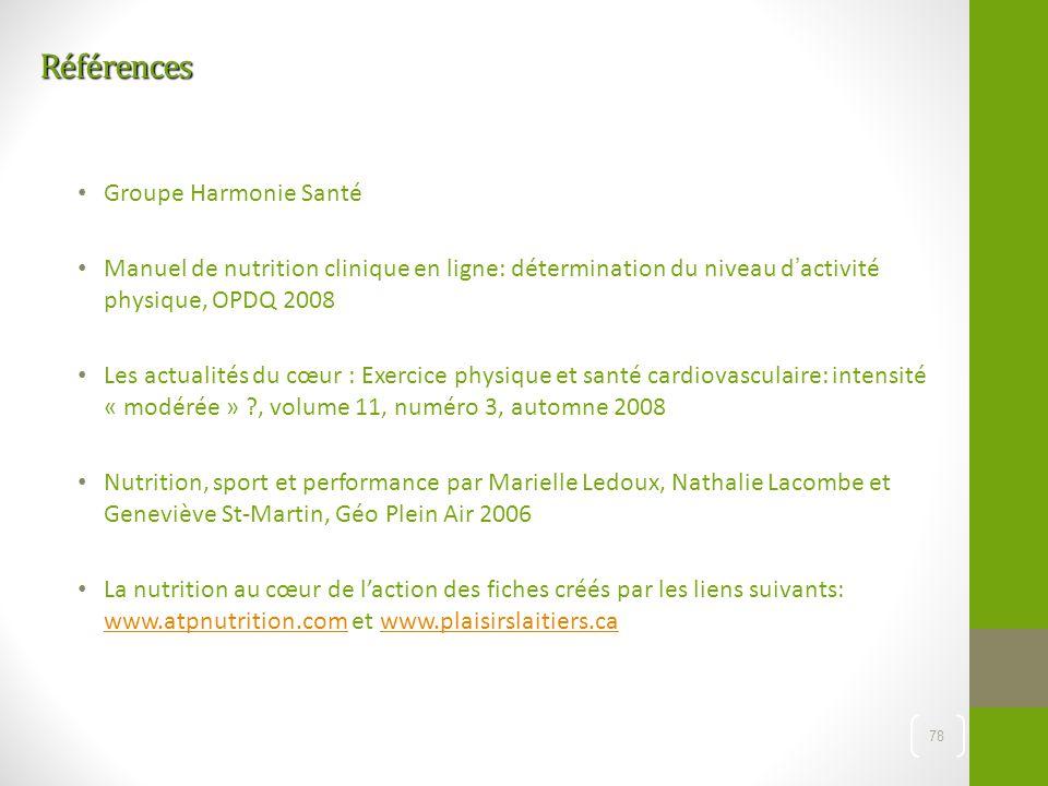 Références Groupe Harmonie Santé Manuel de nutrition clinique en ligne: détermination du niveau d'activité physique, OPDQ 2008 Les actualités du cœur