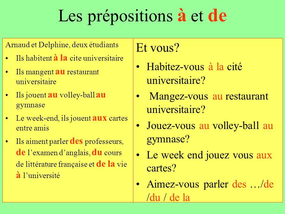 Les prépositions à et de Arnaud et Delphine, deux étudiants Ils habitent à la cite universitaire Ils mangent au restaurant universitaire Ils jouent au