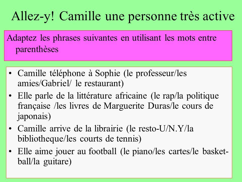 Allez-y! Camille une personne très active Camille téléphone à Sophie (le professeur/les amies/Gabriel/ le restaurant) Elle parle de la littérature afr