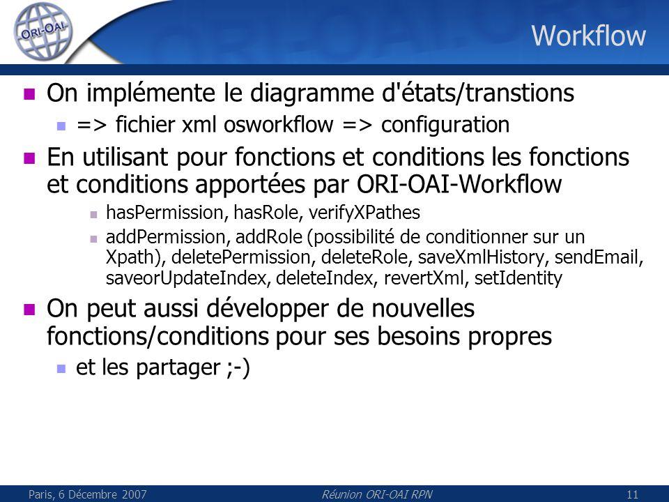 Paris, 6 Décembre 2007Réunion ORI-OAI RPN11 Workflow On implémente le diagramme d états/transtions => fichier xml osworkflow => configuration En utilisant pour fonctions et conditions les fonctions et conditions apportées par ORI-OAI-Workflow hasPermission, hasRole, verifyXPathes addPermission, addRole (possibilité de conditionner sur un Xpath), deletePermission, deleteRole, saveXmlHistory, sendEmail, saveorUpdateIndex, deleteIndex, revertXml, setIdentity On peut aussi développer de nouvelles fonctions/conditions pour ses besoins propres et les partager ;-)