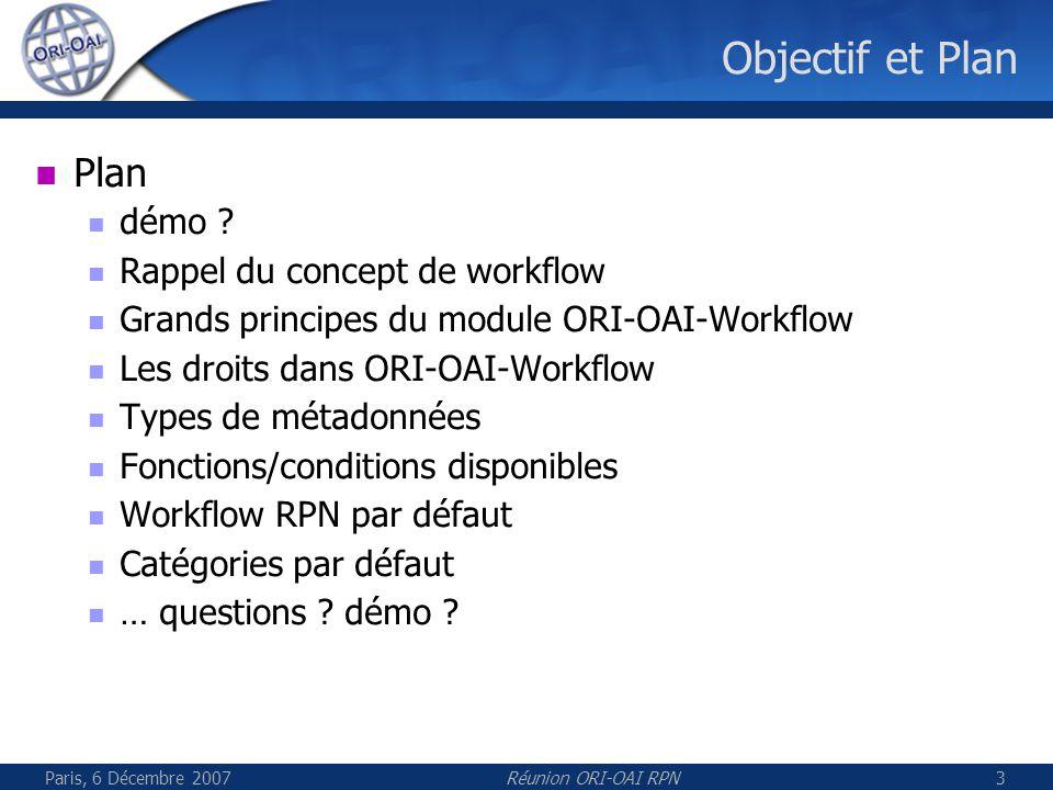 Paris, 6 Décembre 2007Réunion ORI-OAI RPN3 Objectif et Plan Plan démo ? Rappel du concept de workflow Grands principes du module ORI-OAI-Workflow Les