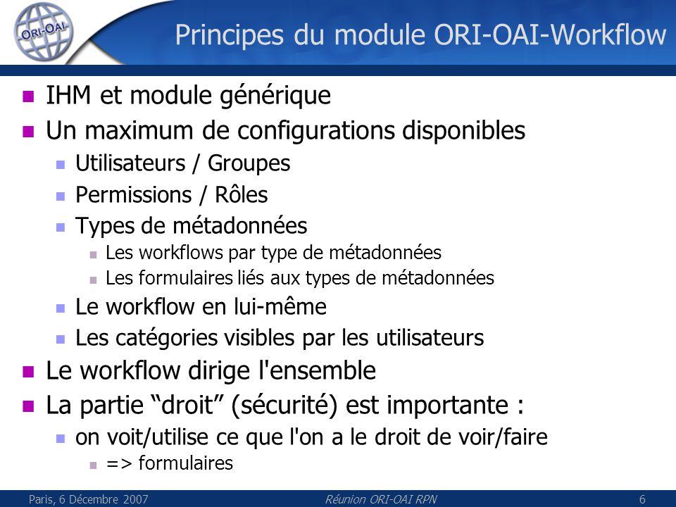 Paris, 6 Décembre 2007Réunion ORI-OAI RPN6 Principes du module ORI-OAI-Workflow IHM et module générique Un maximum de configurations disponibles Utilisateurs / Groupes Permissions / Rôles Types de métadonnées Les workflows par type de métadonnées Les formulaires liés aux types de métadonnées Le workflow en lui-même Les catégories visibles par les utilisateurs Le workflow dirige l ensemble La partie droit (sécurité) est importante : on voit/utilise ce que l on a le droit de voir/faire => formulaires