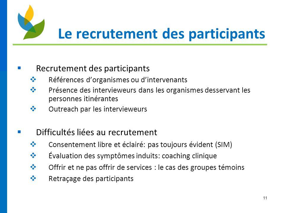 11 Le recrutement des participants  Recrutement des participants  Références d'organismes ou d'intervenants  Présence des intervieweurs dans les or