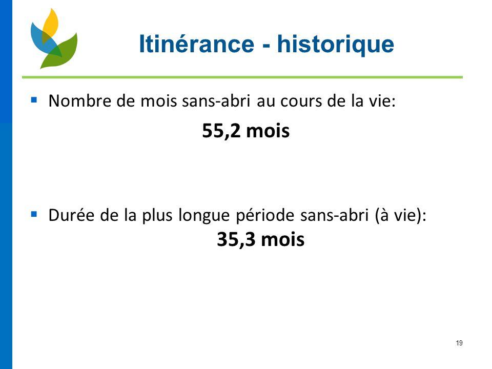 19  Nombre de mois sans-abri au cours de la vie: 55,2 mois  Durée de la plus longue période sans-abri (à vie): 35,3 mois Itinérance - historique