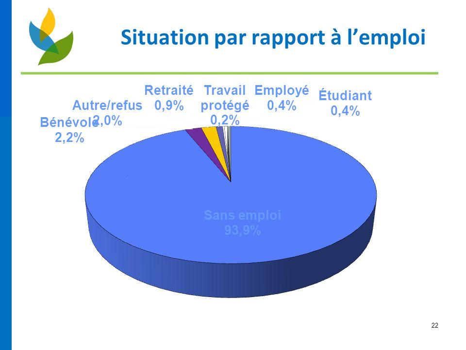 22 Situation par rapport à l'emploi