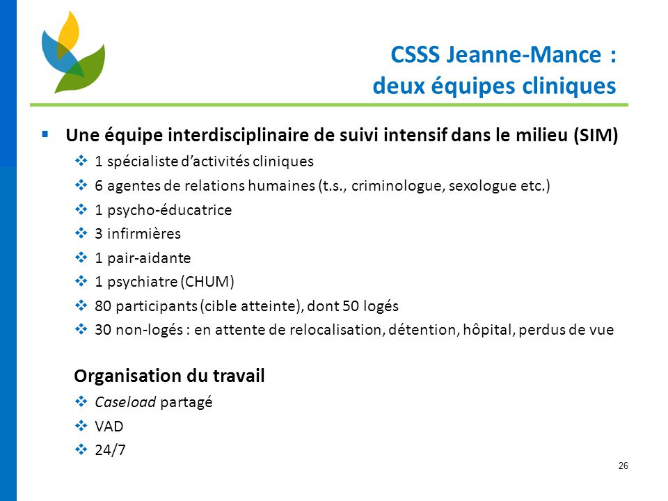 26  Une équipe interdisciplinaire de suivi intensif dans le milieu (SIM)  1 spécialiste d'activités cliniques  6 agentes de relations humaines (t.s