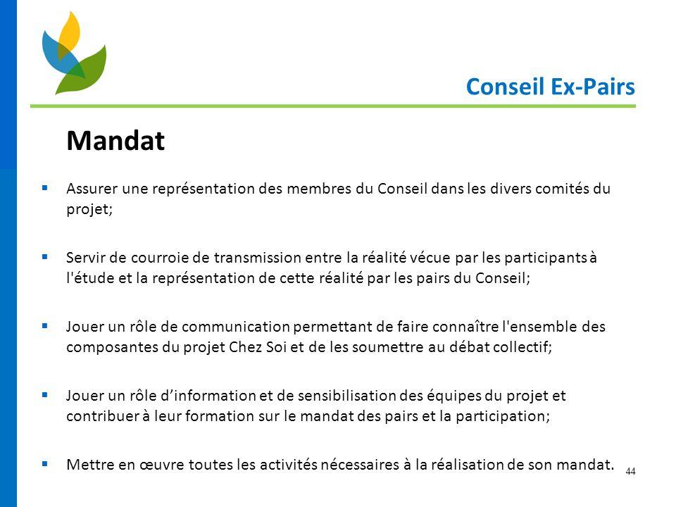 44 Conseil Ex-Pairs Mandat  Assurer une représentation des membres du Conseil dans les divers comités du projet;  Servir de courroie de transmission