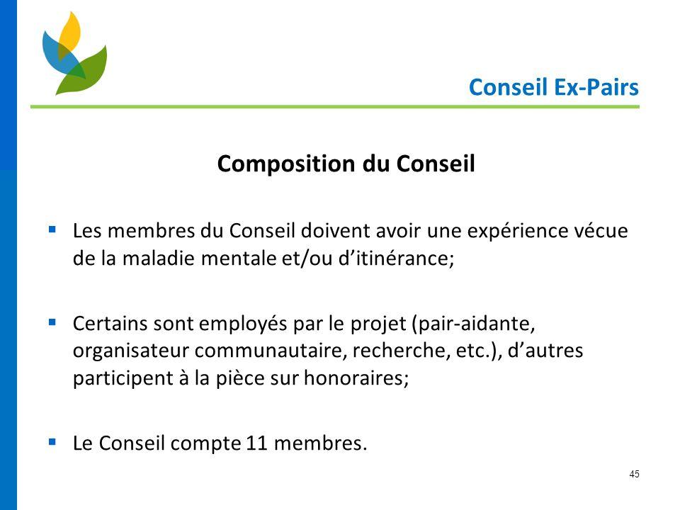 45 Conseil Ex-Pairs Composition du Conseil  Les membres du Conseil doivent avoir une expérience vécue de la maladie mentale et/ou d'itinérance;  Cer