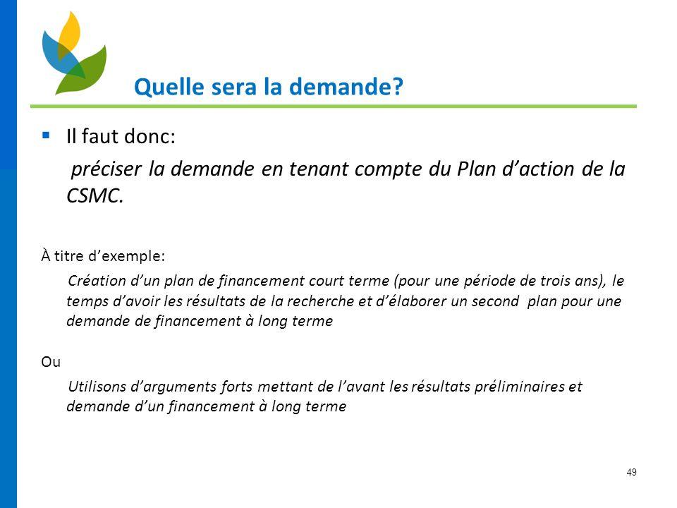 49 Quelle sera la demande?  Il faut donc: préciser la demande en tenant compte du Plan d'action de la CSMC. À titre d'exemple: Création d'un plan de