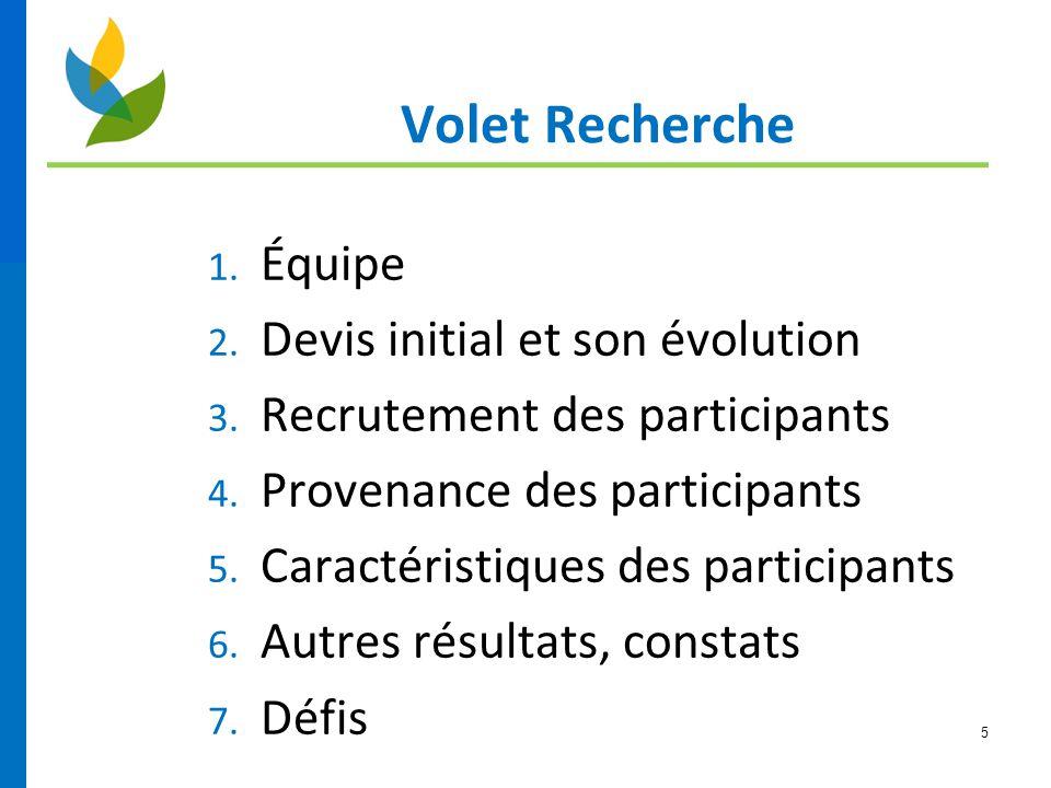 5 Volet Recherche 1. Équipe 2. Devis initial et son évolution 3. Recrutement des participants 4. Provenance des participants 5. Caractéristiques des p