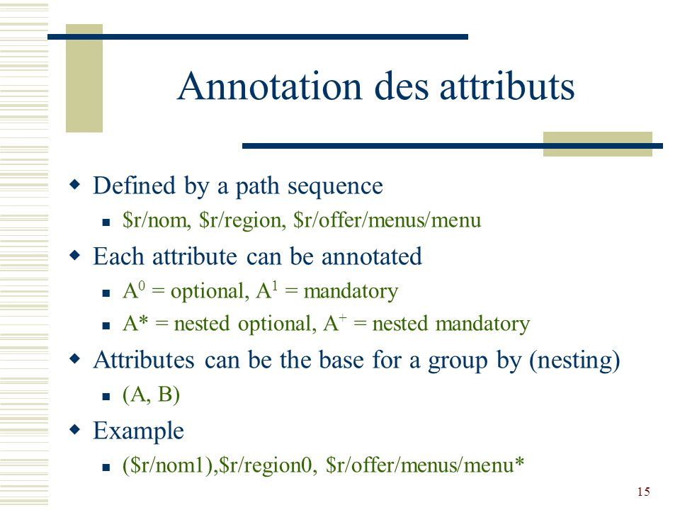 15 Annotation des attributs  Defined by a path sequence $r/nom, $r/region, $r/offer/menus/menu  Each attribute can be annotated A 0 = optional, A 1 = mandatory A* = nested optional, A + = nested mandatory  Attributes can be the base for a group by (nesting) (A, B)  Example ($r/nom1),$r/region0, $r/offer/menus/menu*