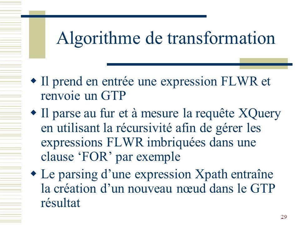 29 Algorithme de transformation  Il prend en entrée une expression FLWR et renvoie un GTP  Il parse au fur et à mesure la requête XQuery en utilisant la récursivité afin de gérer les expressions FLWR imbriquées dans une clause 'FOR' par exemple  Le parsing d'une expression Xpath entraîne la création d'un nouveau nœud dans le GTP résultat