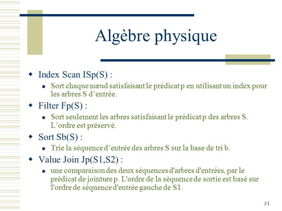 31 Algèbre physique  Index Scan ISp(S) : Sort chaque nœud satisfaisant le prédicat p en utilisant un index pour les arbres S d'entrée.  Filter Fp(S)
