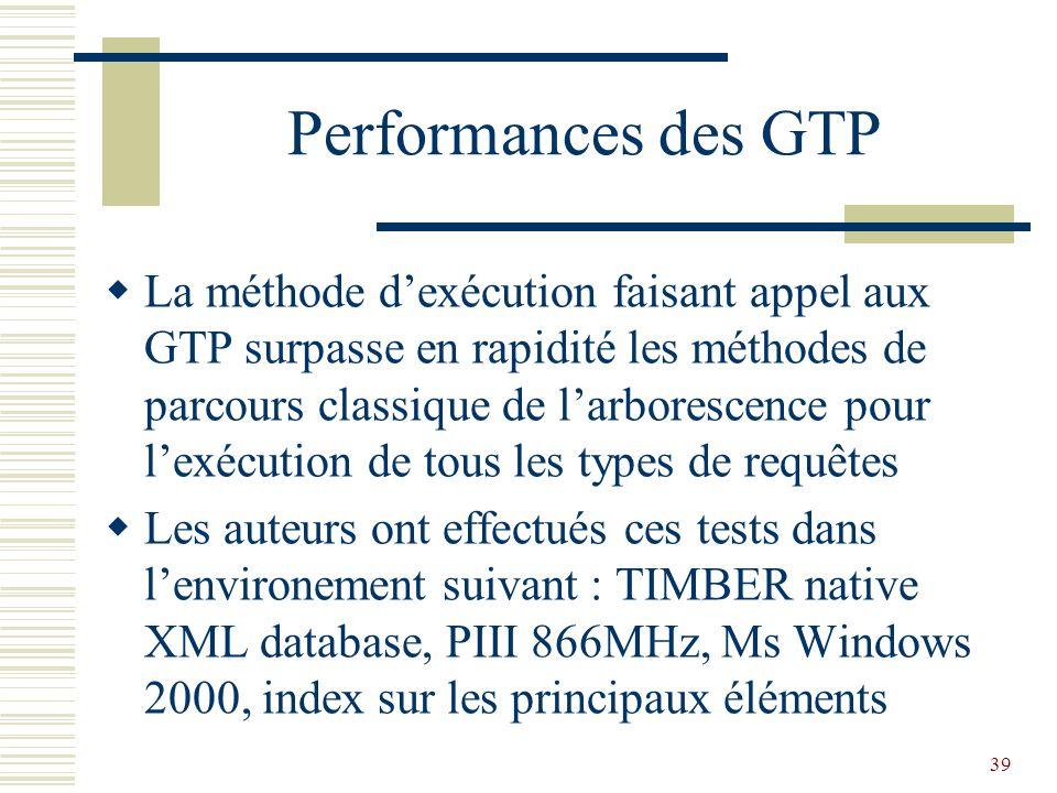 39 Performances des GTP  La méthode d'exécution faisant appel aux GTP surpasse en rapidité les méthodes de parcours classique de l'arborescence pour l'exécution de tous les types de requêtes  Les auteurs ont effectués ces tests dans l'environement suivant : TIMBER native XML database, PIII 866MHz, Ms Windows 2000, index sur les principaux éléments