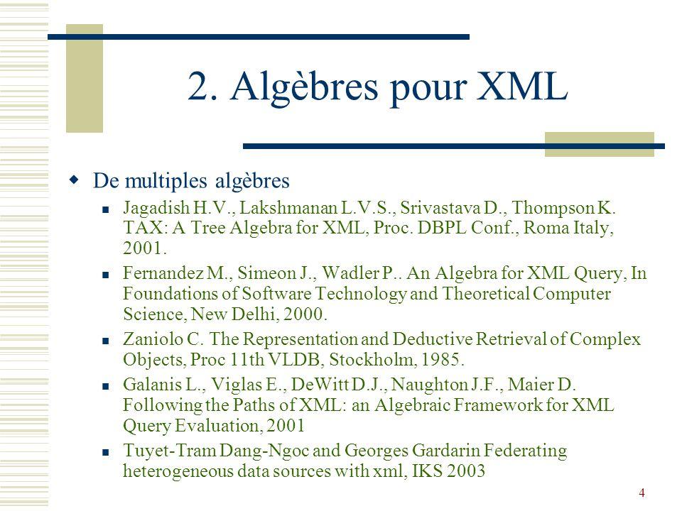 4 2. Algèbres pour XML  De multiples algèbres Jagadish H.V., Lakshmanan L.V.S., Srivastava D., Thompson K. TAX: A Tree Algebra for XML, Proc. DBPL Co