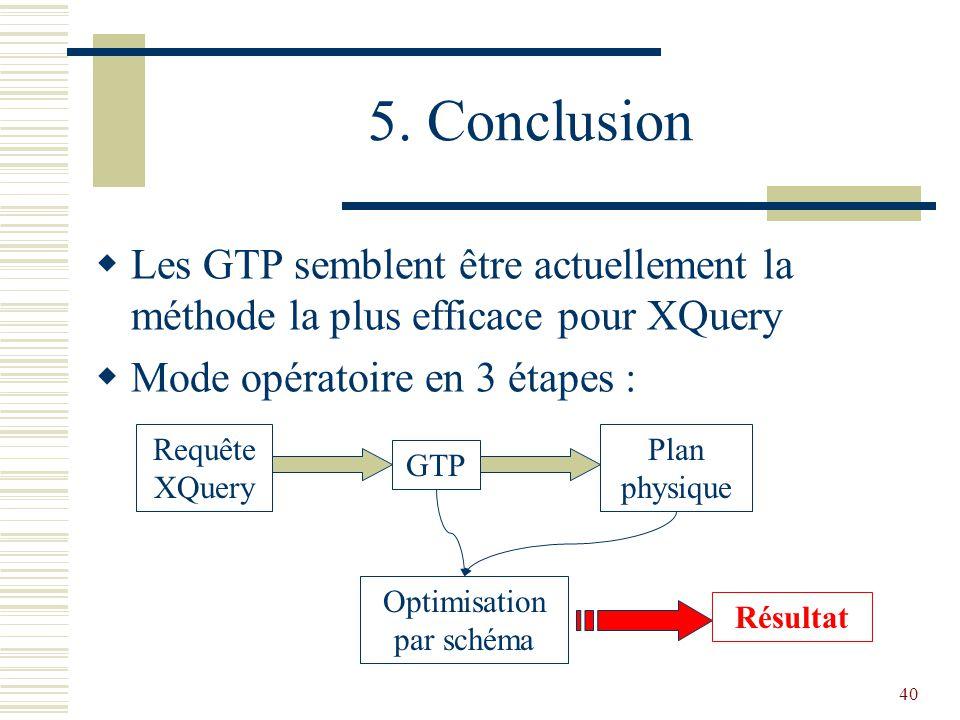 40 5. Conclusion  Les GTP semblent être actuellement la méthode la plus efficace pour XQuery  Mode opératoire en 3 étapes : Requête XQuery Plan phys